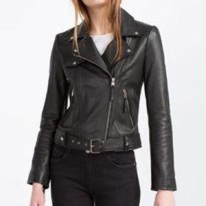 Euro Zara Trafaluc TRF Leather Moto Biker Jacket